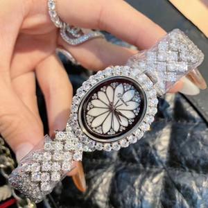 Royal Crown Jóia das mulheres relógio de quartzo Prong Definindo presente Cubic Zircon luxo completa Cristal Mãe-de-pérola de Lady Girl Clock