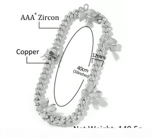 U Hip Hop Micro Setting Zircon Butterfly 12mm Cuban Necklace Fashion Personality Men And Women &#039 ;S Clavicle Chai