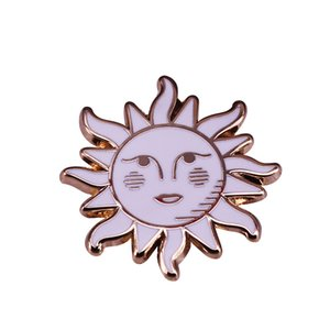 Kawaii Sun Luna brooch inspired by the Mexican bingo card game with a mix of tarot cards