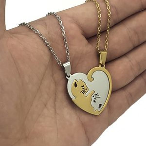 1 pair heart type cat stainless steel fashion couple pendant necklace steel color gold black color to the best friend jewelry