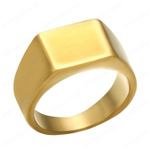 simple style Square shape ring summer hot new fashion Hip hop rap men jewelry ring wholesale Stainless steel material