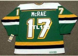 Mens # 17 FESLEĞEN McRae Minnesota Kuzey Yıldız CCM Vintage RETRO Ana Hokeyi Jersey veya Jersey Retro özel herhangi bir ad veya numara