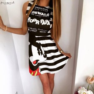 Fashion Party Women Princess Dress2020 Summer New Print Cute Mouse Dress Casual Round Neck Sleeveless Slim Sexy Dress 3Xl