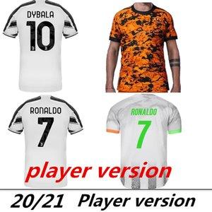 Игрок версия 2020 2021 3-й дом вдали трикотажные изделия футбола футбол Джерси 20 21 футбола рубашки белые и черные полосы, оранжевый, синий