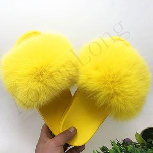 El tamaño grande 34-49 personalizada piel amarilla deslizadores de las mujeres de gran tamaño peludo del deslizador de señoras de piel exterior Diapositivas muchacha de lujo sandalias de pelo