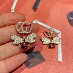 Luxe Bee diamant Boucles Goujons lettres GG Designer Boucle d'oreille Cristal Perle Boucles d'oreilles Femmes Marque Boucle d'oreille Accessoires de bijoux de luxe