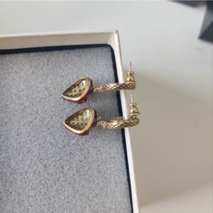 Pendientes de mujer de fresa nostalgia en la dulzura Material de latón apenado clásico con pendientes de alfiler de plata esterlina S925