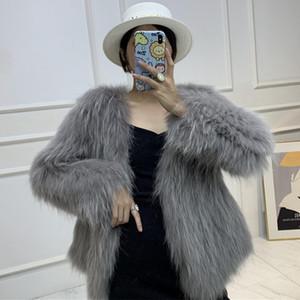 LaVelache 2020 Escudo nuevo de la manera piel verdadera piel del mapache de punto de invierno chaqueta de las mujeres cuello de pico caliente grueso Parka Prendas de Calle