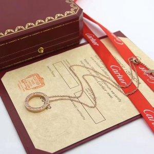 Top sales designer jewelry love necklace 18-Karat gold screw brandCártier necklace Lruxury gift box woman lover 3 color pendant