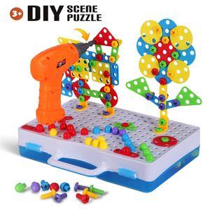 Bambini Drill Puzzle Giocattoli 193PCS plastico Gruppo vite fai da te giocattoli puzzle di smontaggio Mosaico Pegboard creativi giocattoli educativi dei ragazzi del regalo MX200414