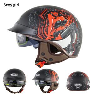 DOT donne unisex Approvato e uomini in pelle ABS casco del motociclo mezzo del fronte del SM202 Vintage Casco Capacete mezzo del fronte Retro Casque