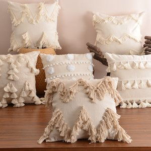 Boho Style Cushion Cover Plush With Tassels Cute Circle Moroccan Style Pillow Case Macrame Home sofa Decorative drop shippng T200624