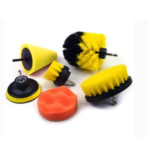 7pcs Scrub Sponge Home Kitchen Power Attachment Car Ceramic Scrubber Wash Cleaning Tool Drill Brush Set Bathroom Grout Floor
