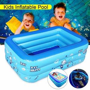 Gran inflable al aire libre para niños integrada Bañera Agua natación del bebé baño de la piscina azul del rectángulo de PVC antideslizante 120x70cm