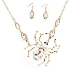 Caliente del diamante del pendiente de la araña colla joyería determinada cristalina Araña Rey clavicular Cadena regalos de la borla gótica collares colgante para las mujeres de los hombres
