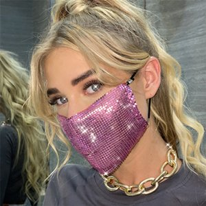 Мода Luxury Lady Face Mask Bling Блеск Mouth сопроводительные Личность аксессуары Маски для женщин Дизайнерские Маски IIA409