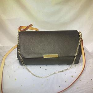 M40718 FAVORITOS MM clásico bolso de la manera de las mujeres del bolso de Crossbody bolsos de hombro de la cadena del cuero de Damier Azur Ebene Cruz cuerpo bolsa de mano N41275
