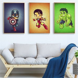 Tuval Mini Karikatür Marvel Karakter Poster Boyama Ve Superheros Demir Hulk Thor Duvar Resmi İçin Salon Cuadros Meke # yazdır