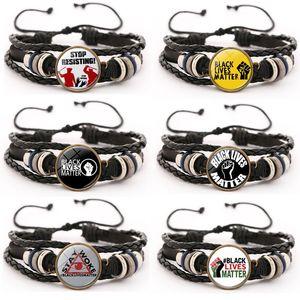 8 Styles Mode JE RESPIRER vie noire Matière Bracelet en cuir à la main Accessoires Bijoux Bracelets Bangle ajustables