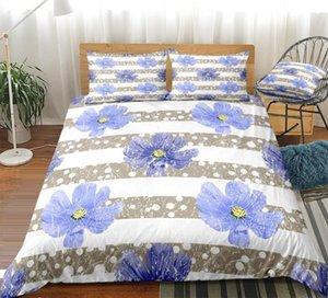 Fiore viola copripiumino Viola Bedding Set Stripe letti 3ps Tessile per la casa microfibra floreale Copriletto ragazze dei capretti