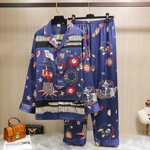 Europe and America Style Mens Sleepwear Summer Printed Stain Ice Silk Men Pajamas Fashion Leisure Men's Home Clothing Sets