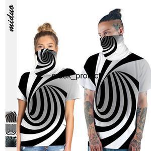 Vortex digital printing pullover women's slim T-shirt couple casual short sleeve top