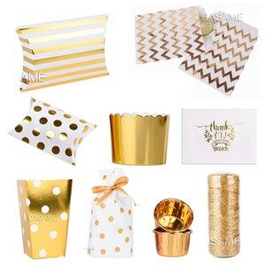 Folyo Altın Parti Kağıt Hediyelik Kutular Packaging Düğün Dekorasyon Favor Şeker kutusu Malzemeleri kek Box yastık