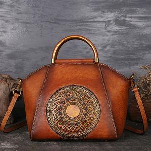ABER New Retro Women Handbag Handmade Genuine Leather Shell Totes Geometric Vintage Cowhide Lady Shoulder&Crossbody Bags