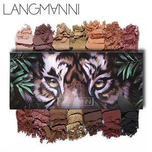 LANGMANNI 14 Farbe Tier Lidschatten-Palette Tiger Eule Augen matt nackt Make-up Illuminator Glanz Kosmetik Schatten hohe Pigmentpalette