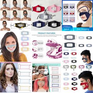 Deaf máscara facial tamanho adulto criança poeira reutilizável PVC transparente máscara linguagem lábio especial XD23763