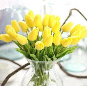 Artifical Цветы Тюльпаны Имитация цветов Свадебный букет Главная украшения нового высокого качества Декоративные цветы Шелковый PU Тюльпаны Цветок DHC110