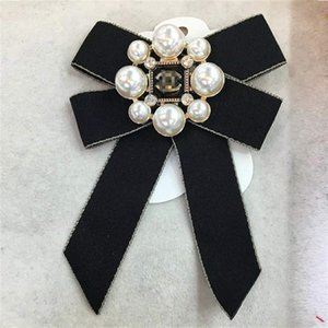 Bow Ribbon Brooch Pin Jewelry for Women Pearl Pins and Brooches Large collar pin for Women's Shirt Coat Skirt Clothing DHL
