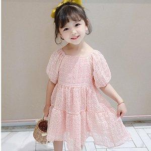 DFXD Девочка платье принцессы Дети Летняя одежда нового прибытия Твердая Puff рукавом шифоновое платье Милые девушки обмундирования малышей партии 1qnF #