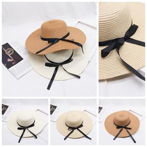 Bow Knot Kadınlar Hasır Şapka Tatil Retro Lady Geniş Brim Doğal Şapka Kız Sahil Casual protetion Siperlik Güneş Şapkalar LJJP105