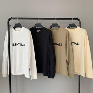 2020 Kalça Tanrı Ön Essentials Tee Kaykay İnce Hoodie Hop Korku Tişört SİS Erkekler Kadınlar Pamuk Uzun Kollu Casual T Shirt Soğuk