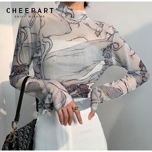 CHEERART Turtleneck malha Blusa Mulheres manga comprida ver através Top Ladies Sheer Top Renascimento Print Designer Top Vestuário T200720