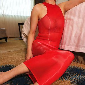 Oil Glossy Sheer Sleeveless Dress Silk Smooth Bodycon Bodystocking Transparent Dresses Women Shiny Hot Sexy Bodyhose Step Dress