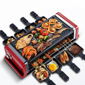 1200W 1350W Square Double Layers Smokeless Electric Pan Grill BBQ Grill Raclette Electric Griddle TZrm#