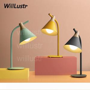 Willlustr nueva madera de hierro luz de lectura mesita de noche de hotel oficina de mesa de iluminación sofá de la sala de estudio luz lateral de color rosa Macaron amarillo gris de la lámpara