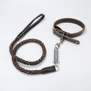 High Quality Genuine Leather Large Dog Leashes Pet Traction Rope Collar Set For Big Dogs Leather Collars Leash