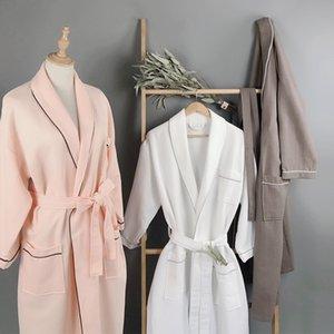 Star Hotel летом тонкая розовая белого хлопок вафельных пижама пижамы сорочка потеть пароход мягких впитывающие дышащей