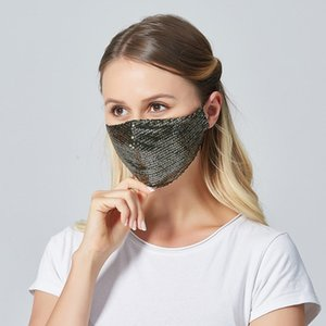 The new factory direct cross-border fashionable men and women sequined masks summer ice silk cotton dust masks Designer masks