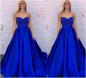 Graceful A-line Royal Blue Homecoming Dresses Sweetheart Bead Sequin Prom Gown Sweep Train Satin Formal Robe De Mariee