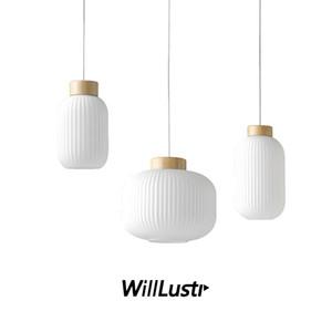 Vetro bianco Nordic creativa lanterna lampada a sospensione sospensione Light Hotel Ristorante soggiorno pranzo Comodino Loft Legno Illuminazione