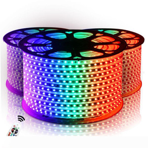 Led Strips 10M 50M 110V 220V High Voltage SMD 5050 RGB Led Strips Lights Waterproof+IR Remote Control + Power Supply