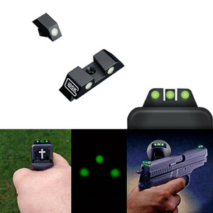 HQ Tactical Pistol Night Vision Optics Mechanical Sight Green Luminous Glow Front and Rear Sight For Glo ck G17 G19 G22 G23 Series model