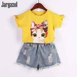 Jargazol Kids Clothes Girls Summer Cartoon Cat Printed Shirt&Denim Shorts Broken Hole Jeans Children Clothing Set Cute Outfits