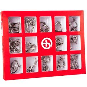 Montessori métalliques 15 pièces / set Jouets fil en métal pour les enfants adultes 2 Styles QI esprit Casse-tête Casse-tête Jeu pour une bonne passe-temps cadeau CX200711