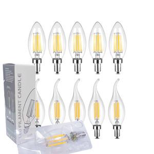 100pcs lot Non-Dimmable 90+CRI LED Filament Bulb C35 lamp E12 E14 E26 E27 B22 Candle Bulbs 2W 4W 6W led Chandelier Light Bulbs