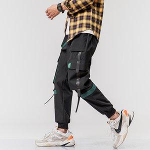 HIP HOP Streetwear Esporte 2020 Primavera Outono Black Rock verde dos homens bolso Harem Pants Fashions Joggers Casual skate calças